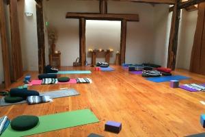 yoga mats in a yoga studio